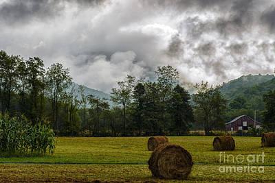 Hay Bales Barn Stormy Sky Poster by Thomas R Fletcher