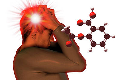 Headache And Aspirin Molecule Poster by Carol & Mike Werner