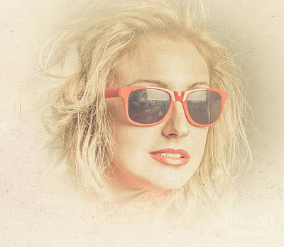 Headshot Of A Pretty Girl In Retro Sunglasses Poster by Jorgo Photography - Wall Art Gallery
