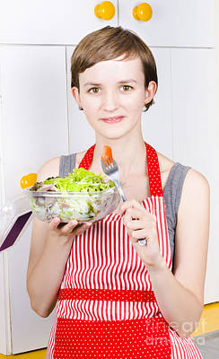 Health Conscious Woman Eating Green Salad Poster