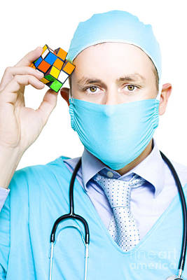 Healthcare Practitioner With A Medical Puzzle Poster