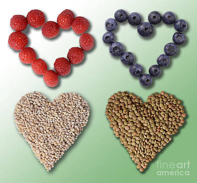 Heart-healthy Foods Poster by Gwen Shockey