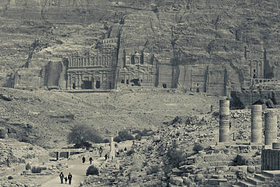 High Angle View Of Tourists At Ancient Poster