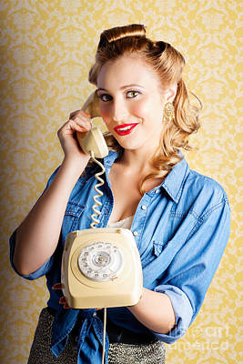 Hip Retro Girl Talking On Vintage Telephone Poster by Jorgo Photography - Wall Art Gallery