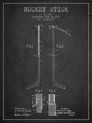 Hockey Stick Patent Drawing From 1915 Poster by Aged Pixel