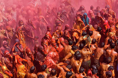 Holi Festival At A Temple, Mathura Poster by Peter Adams