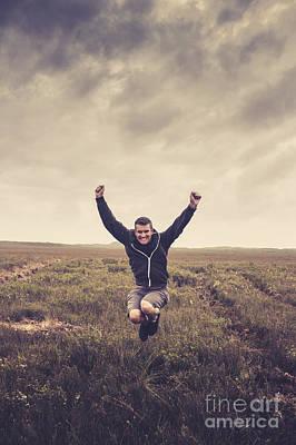 Holiday Man Jumping On Rural Australia Landscape Poster