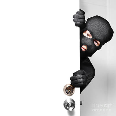 Home Burglar Opening House Door With Copyspace Poster by Jorgo Photography - Wall Art Gallery