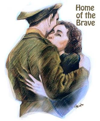 Home Of The Brave Text Poster by Mary Fanning