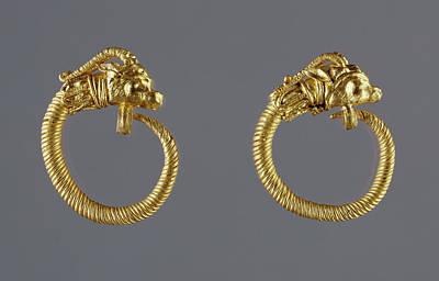 Hoop Earrings With Antelope-head Finials Unknown Alexandria Poster