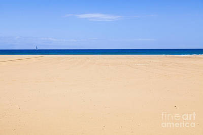 Horizontal Lines Of Sandy Beach Blue Sea And Sky Poster