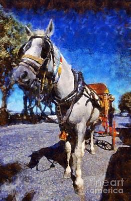 Horse Carriage In Aegina Island Poster