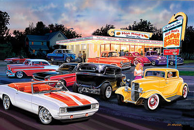 Hot Rod Drive In Poster by Bruce Kaiser