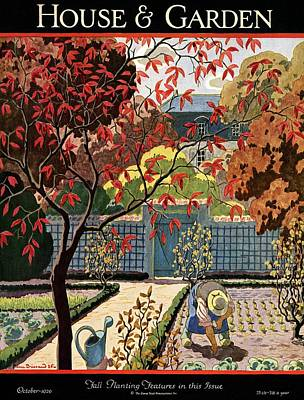 House And Garden Fall Planting Number Cover Poster by Pierre Brissaud