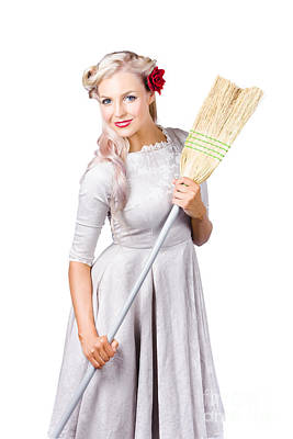 Housemaid With Broom Poster
