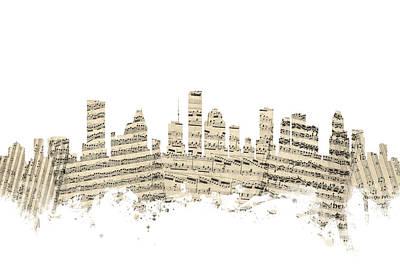 Houston Texas Skyline Sheet Music Cityscape Poster by Michael Tompsett