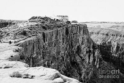 hualapai indian buffet cafe building built on the cliff face at guano point Grand Canyon west arizon Poster by Joe Fox