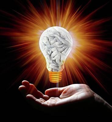 Human Brain In Shape Of Lightbulb Poster by Victor De Schwanberg