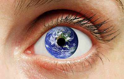Human Eye With Planet Earth Poster