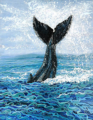 Poster featuring the painting Humpback Flukes by Debbie Chamberlin