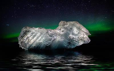 Ice With The Aurora Borealis. Ice Poster