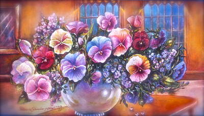 Poster featuring the painting Icicle Pansies by Patricia Schneider Mitchell