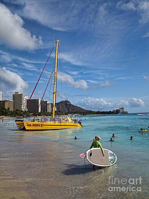 Idyllic Waikiki Beach Poster by David Smith