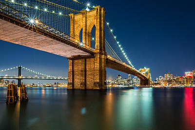 Illuminated Brooklyn Bridge By Night Poster