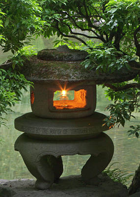 Illuminated Stone  Lantern In Portland Poster by William Sutton