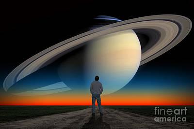 In Awe Of Saturn Poster by Larry Landolfi