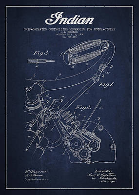 Indian Motorcycle Patent From 1904 - Navy Blue Poster by Aged Pixel