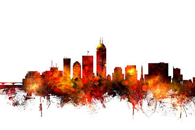 Indianapolis Indiana Skyline Poster by Michael Tompsett
