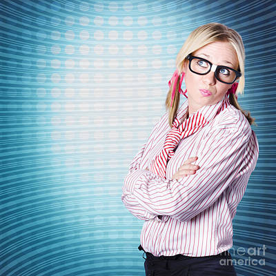 Innovative Marketing Woman Looking At Copyspace Poster by Jorgo Photography - Wall Art Gallery