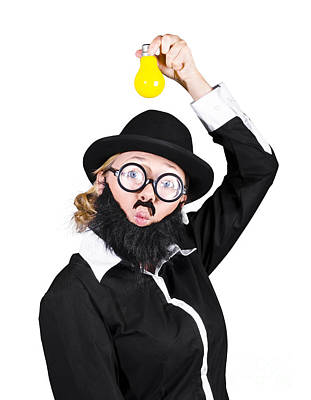 Inspired Woman Dressed As Man Holding Bulb Poster by Jorgo Photography - Wall Art Gallery