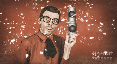 Inventor Man Holding Beer Can Speakers At Party Poster by Jorgo Photography - Wall Art Gallery