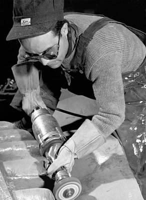 Isamu Noguchi Working Poster by Underwood Archives