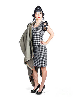 Isolated Asian Pin Up Lady. Air Force Style Poster by Jorgo Photography - Wall Art Gallery