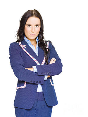Isolated Confident Female Business Person On White Poster
