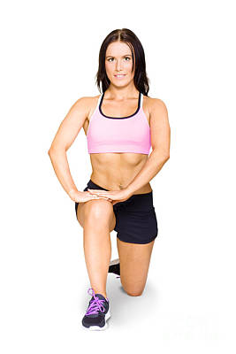 Isolated Female Athlete Stretching Before Exercise Poster