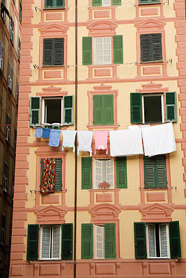 Italy, Camogli Laundry Hangs Poster