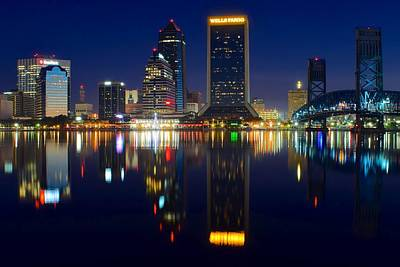Jacksonville Over The St Johns River Poster by Frozen in Time Fine Art Photography