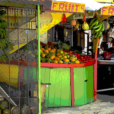 Jamaican Fruit Stand Poster by Ann Powell