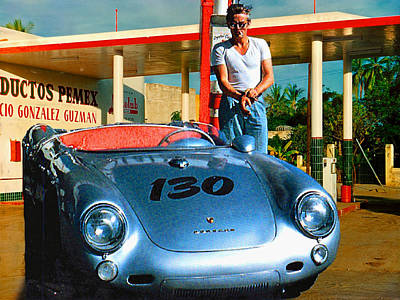 James Dean Filling His Spyder With Gas Poster