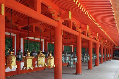 Japan, Nara Hanging Lanterns At Kasuga Poster