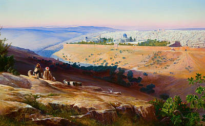 Jerusalem From The Mount Of Olives Poster by Edward Lear