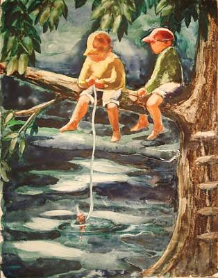Jes Fishin Poster by Marilyn Jacobson