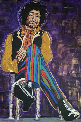 Poster featuring the painting Jimi Hendrix by Rachel Natalie Rawlins