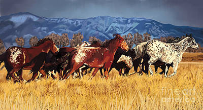 Poster featuring the painting Joe's Horses by Tim Gilliland
