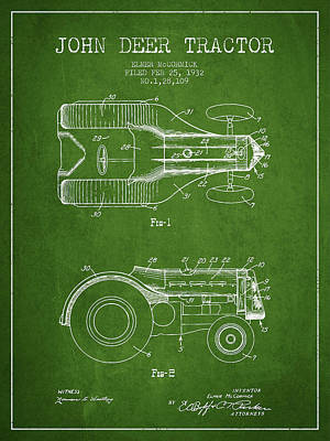 John Deer Tractor Patent Drawing From 1932 - Navy Blue Poster by Aged Pixel