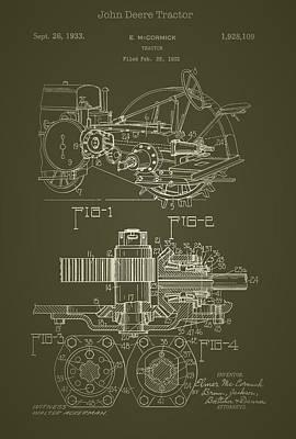 John Deere Tractor Patent 1933 Poster